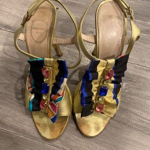 Pucci gold and multicolor ribbon heels!